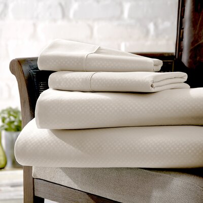 Crystal Double-Brushed Checkered Sheet Set Size: Queen, Color: Cream