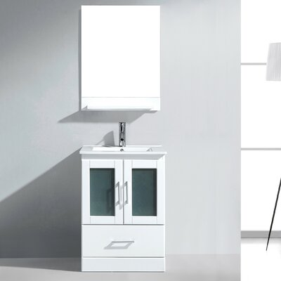 Perla 24 Single Bathroom Vanity Set with Mirror Base Finish: Gray, Faucet Finish: Brushed Nickel