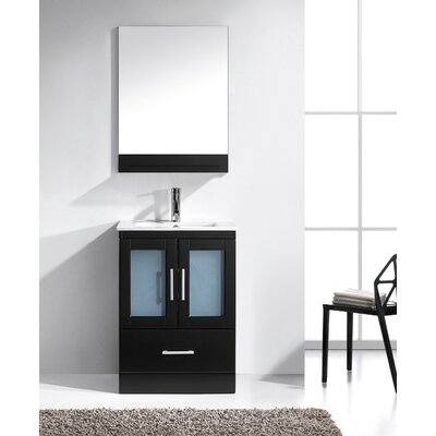 Duke 24 Single Bathroom Vanity Set with Mirror Base Finish: White, Faucet Finish: Brushed Nickel