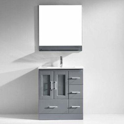 Duke 30 Single Bathroom Vanity Set with Mirror Base Finish: Gray, Faucet Finish: Polished Chrome
