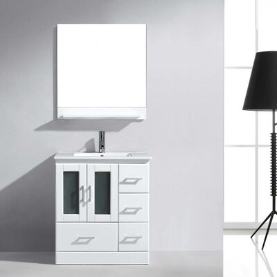Duke 30 Single Bathroom Vanity Set with Mirror Base Finish: White, Faucet Finish: Polished Chrome