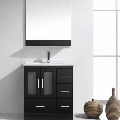 Duke 30 Single Bathroom Vanity Set with Mirror Base Finish: Espresso, Faucet Finish: Brushed Nickel