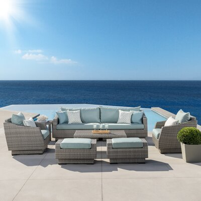 Alfonso 8 Piece Deep Seating Group With Cushion Fabric: Spa Blue
