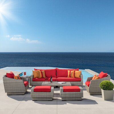 Alfonso 8 Piece Deep Seating Group With Cushion Fabric: Cantina Red