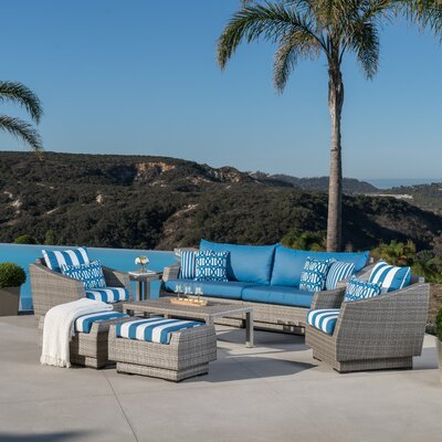 Alfonso 8 Piece Deep Seating Group With Cushion Fabric: Regatta Blue