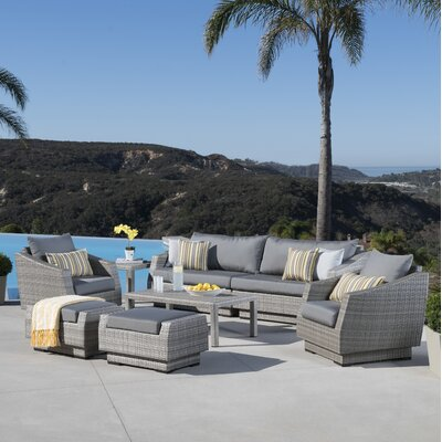 Alfonso 8 Piece Deep Seating Group With Cushion Fabric: Charcoal Grey