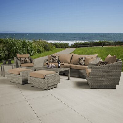 Alfonso 8 Piece Deep Seating Group With Cushion Fabric: Delano Beige