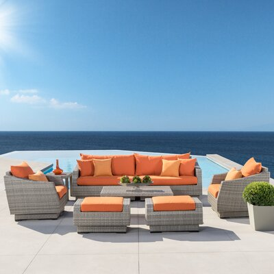 Alfonso 8 Piece Deep Seating Group With Cushion Fabric: Tikka Orange