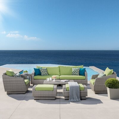 Alfonso 8 Piece Deep Seating Group With Cushion Fabric: Gingko Green