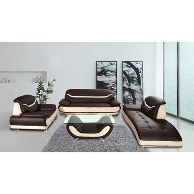Phillipsburg 3 Piece Faux Leather Modern Living Room Sofa Set Upholstery: Brown/Beige