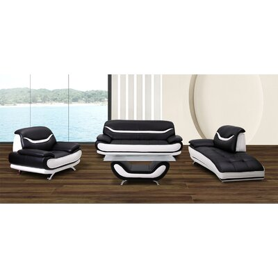 Phillipsburg 3 Piece Leather Living Room Set Upholstery: Black/White