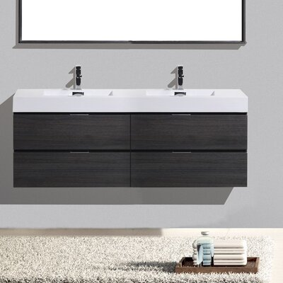 Tenafly Wall Mount 72 Double Modern Bathroom Vanity Set Base Finish: Gray Oak