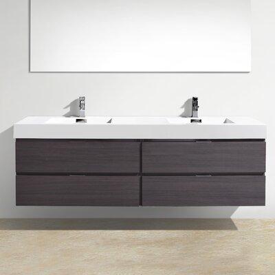 Tenafly Wall Mount 72 Double Modern Bathroom Vanity Set Base Finish: High Gloss Gray Oak