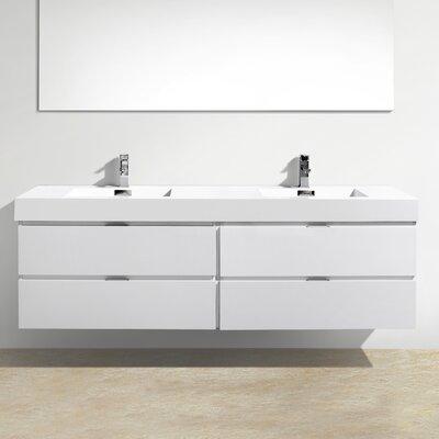 Tenafly Wall Mount 72 Double Modern Bathroom Vanity Set Base Finish: White