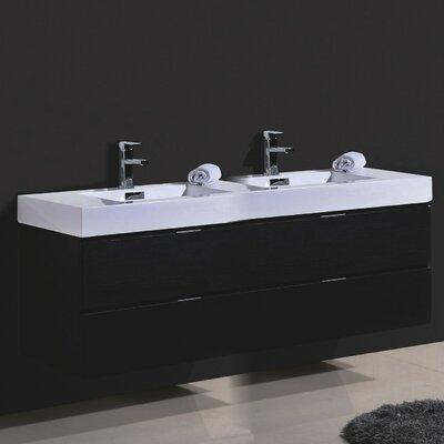 Tenafly Wood 80 Double Modern Bathroom Vanity Set Base Finish: Black