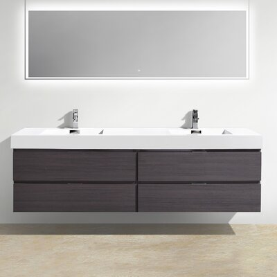 Tenafly Wood 80 Double Modern Bathroom Vanity Set Base Finish: High Gloss Gray Oak