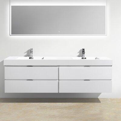 Tenafly Wood 80 Double Modern Bathroom Vanity Set Base Finish: High Gloss White