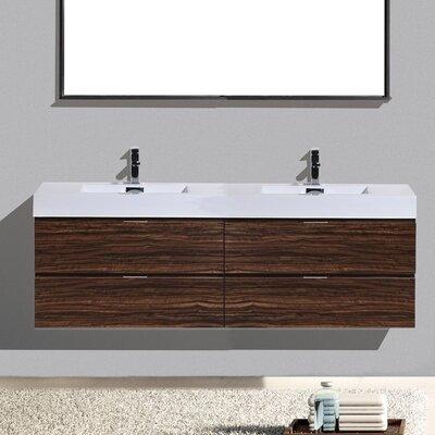 Tenafly Wood 80 Double Modern Bathroom Vanity Set Base Finish: Walnut