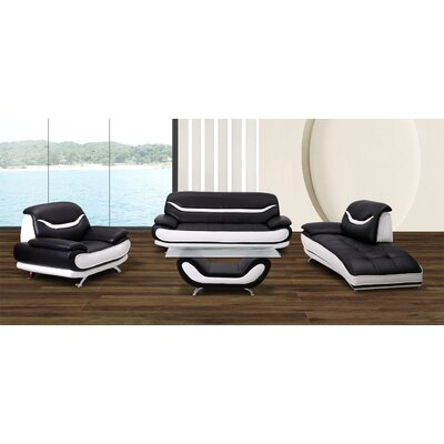 Phillipsburg 4 Piece Living Room Set Upholstery: Black / White