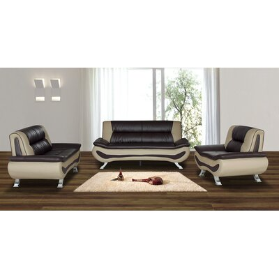 Berkeley Heights 4 Piece Living Room Set Upholstery: Brown / Beige