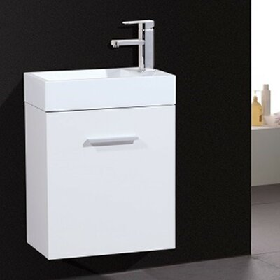 Tenafly 18 Single Wall Mount Modern Bathroom Vanity Set Base Finish: White