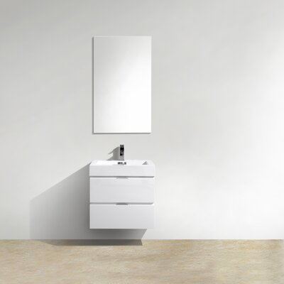 Tenafly 24 Single Wall Mount Modern Bathroom Vanity Set Base Finish: White