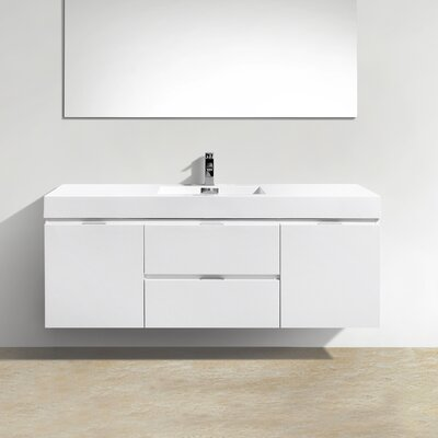 Tenafly 60 Single Wall Mount Modern Bathroom Vanity Set