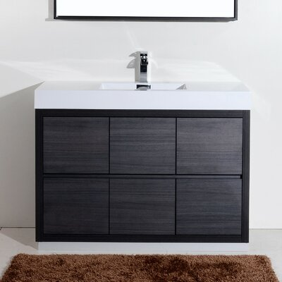 Tenafly 48 Single Free Standing Modern Bathroom Vanity Set Base Finish: Gray Oak