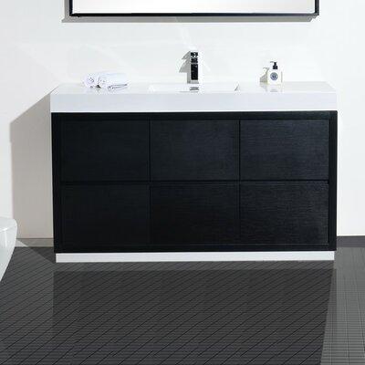 Tenafly 60 Single Bathroom Vanity Set Base Finish: Black