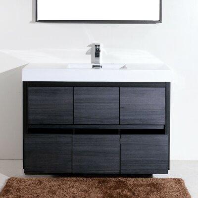 Tenafly 60 Single Free Standing Modern Bathroom Vanity Set Base Finish: Gray Oak