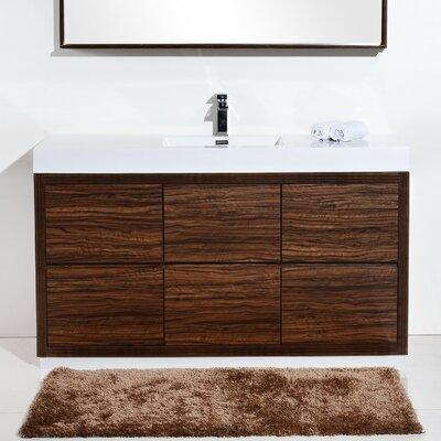 Tenafly 60 Single Bathroom Vanity Set Base Finish: Walnut