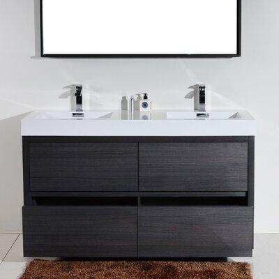 Tenafly 60 Double Free Standing Modern Bathroom Vanity Set Base Finish: Gray Oak