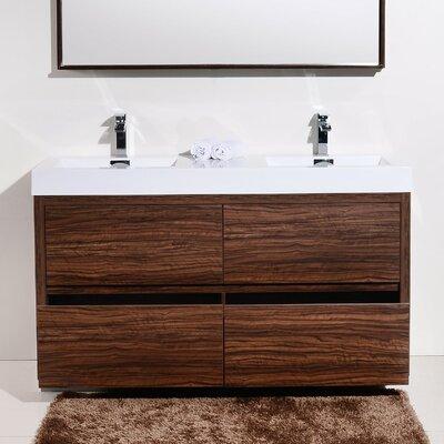 Tenafly 60 Double Free Standing Modern Bathroom Vanity Set Base Finish: Walnut
