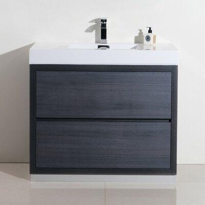 Tenafly 40 Single Free Standing Modern Bathroom Vanity Set Base Finish: Gray Oak