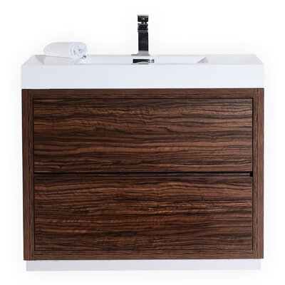 Tenafly 40 Single Free Standing Modern Bathroom Vanity Set Base Finish: Walnut