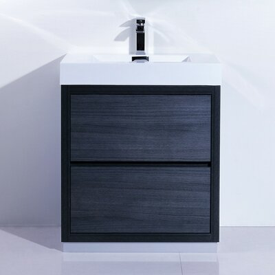 Tenafly 30 Single Free Standing Modern Bathroom Vanity Set Base Finish: Gray Oak