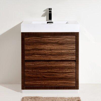 Tenafly 30 Single Free Standing Modern Bathroom Vanity Set Base Finish: Walnut