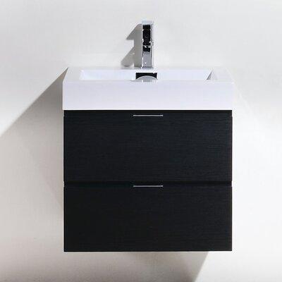 Tenafly 24 Single Wall Mount Modern Bathroom Vanity Set Base Finish: Black