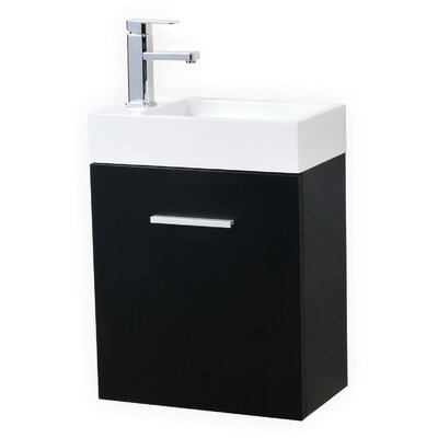 Tenafly 18 Single Wall Mount Modern Bathroom Vanity Set Base Finish: Black