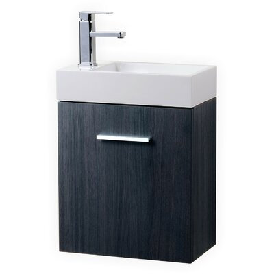 Tenafly 18 Single Wall Mount Modern Bathroom Vanity Set Base Finish: Gray Oak
