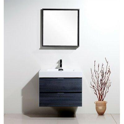 Tenafly 30 Single Wall Mount Modern Bathroom Vanity Set Base Finish: Gray Oak