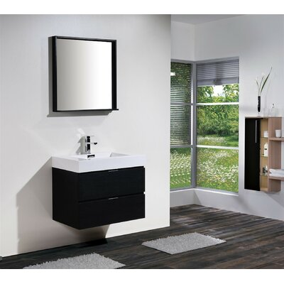 Tenafly 30 Single Wall Mount Modern Bathroom Vanity Set Base Finish: Black