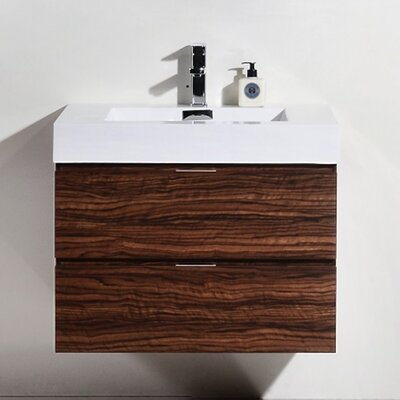 Tenafly 30 Single Wall Mount Modern Bathroom Vanity Set Base Finish: Walnut