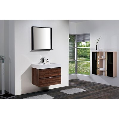 Tenafly 30 Single Wall Mount Modern Bathroom Vanity Set Base Finish: Walnut