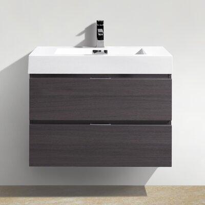Tenafly 30 Single Wall Mount Modern Bathroom Vanity Set Base Finish: High Gloss Gray Oak