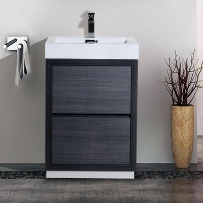 Tenafly 24 Single Free Standing Modern Bathroom Vanity Set Base Finish: Gray Oak