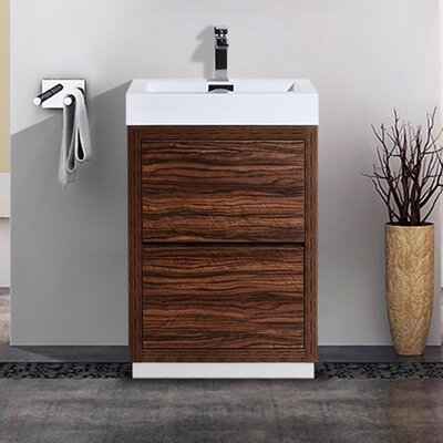 Tenafly 24 Single Free Standing Modern Bathroom Vanity Set Base Finish: Walnut