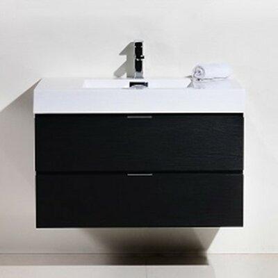 Tenafly 36 Single Wall Mount Modern Bathroom Vanity Set Base Finish: Black