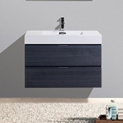 Tenafly 36 Single Wall Mount Modern Bathroom Vanity Set Base Finish: Gray Oak