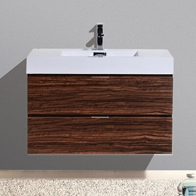 Tenafly 36 Single Wall Mount Modern Bathroom Vanity Set Base Finish: Walnut